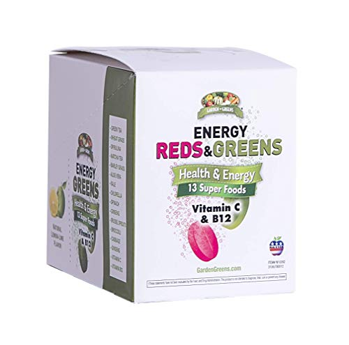 Garden Greens Energy Reds & Greens Superfood Effervescent Tablets, 13 Super Foods and Vitamin C & B12, Box of 6 10-Count Tubes (3 Greens & 3 Reds)