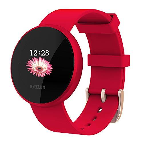 Smartwatch Mujer,Reloj de Monitor de Ritmo cardíaco con Pantalla a Color, Pantalla de Reloj con Efecto de Despertador automático IP68 Reloj Inteligente Hombres (Rojo)