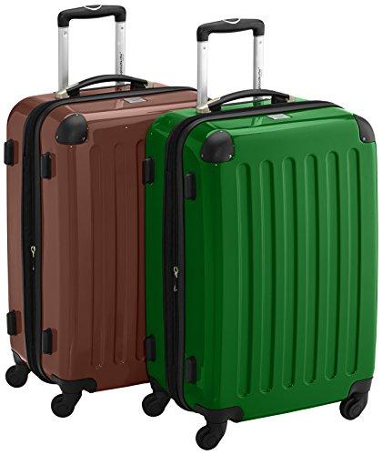 HAUPTSTADTKOFFER - Alex - 2er Koffer-Set Hartschale glänzend, 65 cm, 74 Liter, Braun-Grün