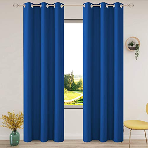 FLOWEROOM Thermal Blackout Curtains for Bedroom, 46 x 72 inches Long, Royal Blue - Winter Energy Saving/Summer Sun Blocking/Noise Reducing Window Curtain for Living Room, Set of 2 Eyelets Curtains
