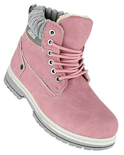 Bootsland 355 Winterstiefel Stiefel Winterschuhe Damenstiefel Damen, Schuhgröße:36