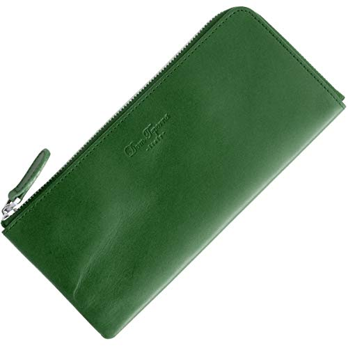 [Dom Teporna Italy] 財布 本革 イタリアンレザー L字ファスナー 大容量なのに薄い 緑 長財布 スリム財布 メンズ レディース グリーン