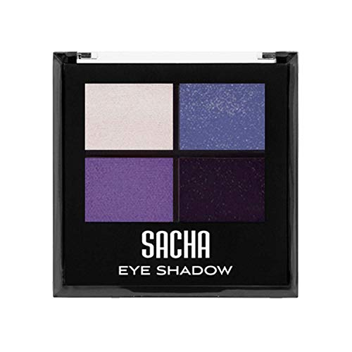 Quad Eye Shadow by Sacha Cosmetics, Best Highly Pigmented Eyeshadow Makeup Powder, Shimmer Glitter & Matte Colors, 1.4 Oz, Deadly Sin