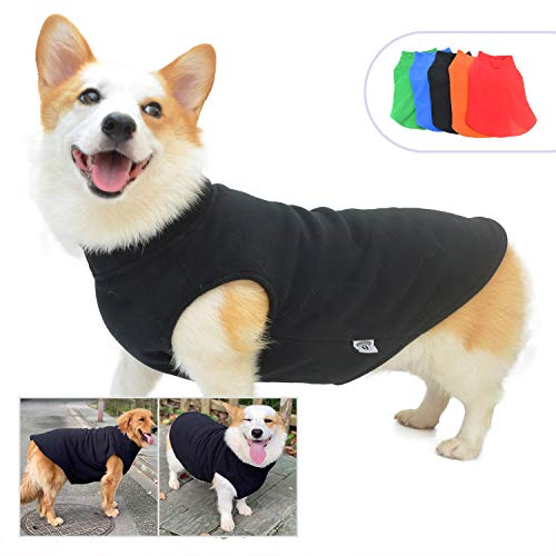 Dog Winter Vest Warm Breathable Dog Polar Fleece Vest Jacket, Lightweight Winter Coat with Leash Neck Hole for Small Medium Large Dogs Black M