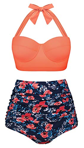 Aixy Womens Vintage Swimsuits High Waisted Bikini Two Piece Bathing Suits with Underwired Top
