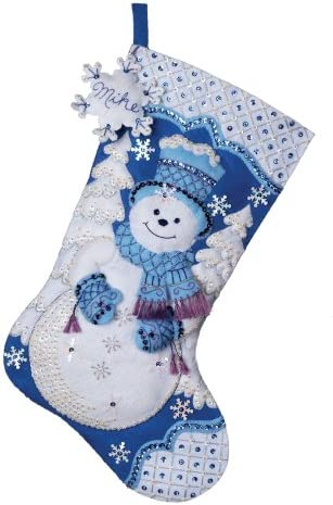 "Bucilla 86709 Sparkle Snowflake Stocking Felt Applique Kit-18/"" Long"