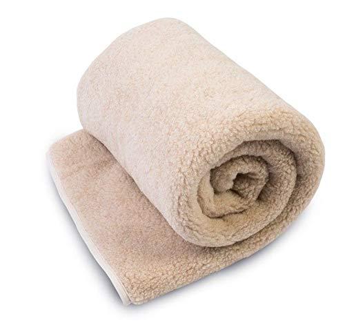 Merino Wolle Leichtes Überwurf Decke, 100% Wolle, Woolmark alle Größen, beige, 200 x 200cm