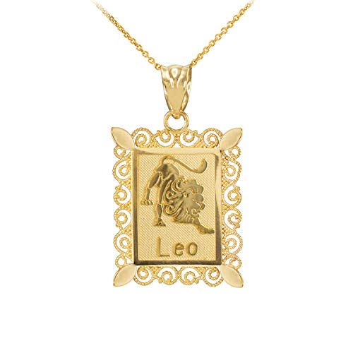 Polished 9 ct Gold Leo Zodiac Sign Rectangular Pendant Necklace Necklace (Available Chain Length 16'- 18'- 20'- 22') D