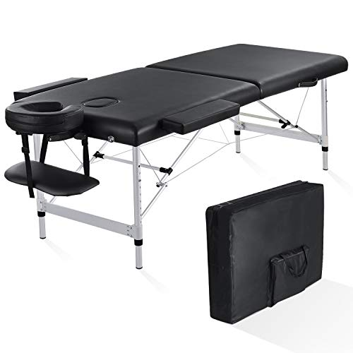 MaxKare Portable Massage Table 84 Inch with Extra Wide Folding Professional Lash SPA Massage Bed 2 Fold Adjustable Aluminum Frame Carrying Bag Headrest & Accessories for Home Use
