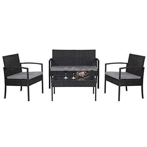 4 Pcs Outdoor Patio Rattan Korbmöbel Set Mit Tischsofa Gepolsterte Schwarze Gartenstühle