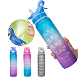 Spray Sports Water Bottle Bounce Straw 32 oz Plastic Cup with Time Marker - BPA Free & Leakproof Frosted Reusable Fitness Water jug Bottle for Gym Office Biking Running Workout Outdoor Sport