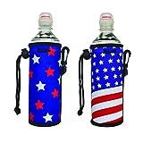 E - Living 500ML (16.9 OZ) Collapsible Printed Neoprene Water Bottle Drawstring Cooler/Coolie/Cover/Insulator/Holder/Huggie/Sleeve - 2 Pack (12 Colors) (Star+Flag)