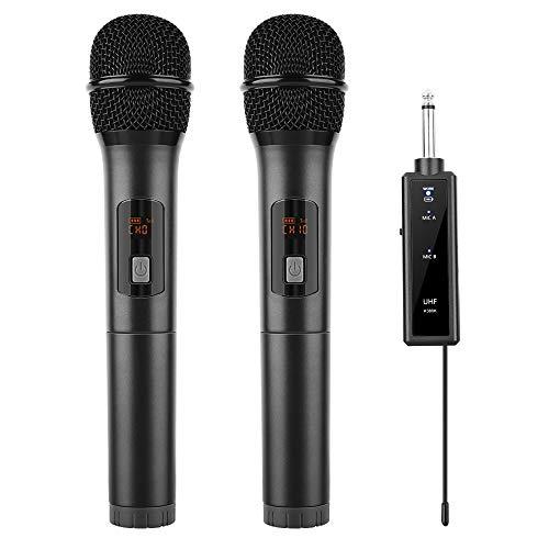 LEKATO Kabelloses Mikrofon, Dual-dynamisches schnurloses Mikrofon, professionelles UHF-Mikrofon-System mit wiederaufladbarem Empfänger