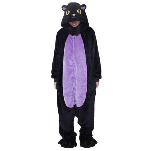 Black Sugar Mardi Gras (M) / Chat Noir Nuit Grenouillère Grenouillère Pyjama Kigurimi pour Adulte & Adolescent Unisexe en Peluche Très Doux Très Confortable (M : 155-163cm)