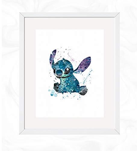 Stitch Prints, Lilo & Stitch Disney Watercolor, Nursery Wall Poster, Holiday Gift, Kids and Children Artworks, Digital Illustration Art