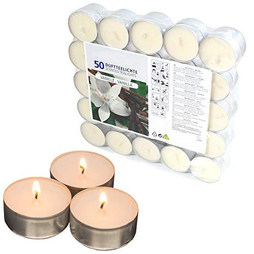 Smart Planet® Kerzen Ambiente Teelichter Vanilleduft - 50er Packung Teelichte - 50 Stück Teelicht mit Vanille Geruch Kerze Weihnachten