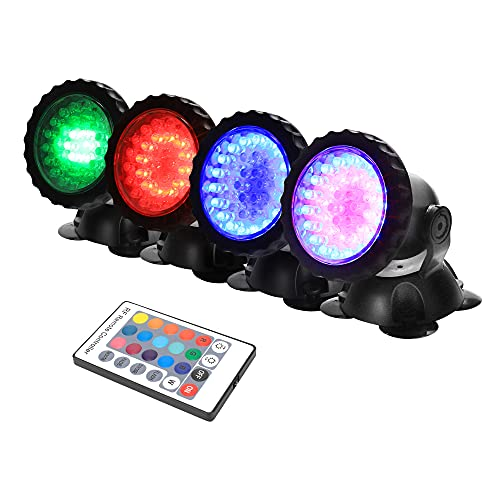 GreenSun Unterwasser Spot Licht, RGB Fernbedienung Spot Lampe IP68 Wasserdicht für Aquarium Gartenteich Beleuchtung