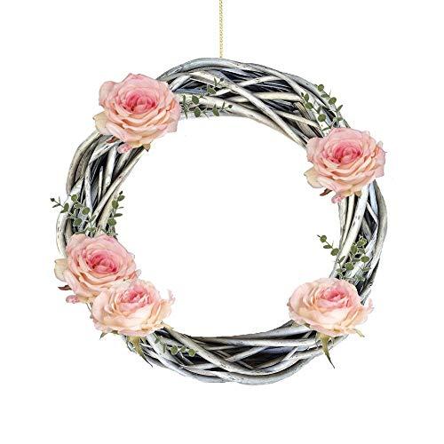 Wrenbury - Corona de mimbre para puerta, diseño de flores de sauce (35 cm), color plateado
