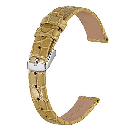 BISONSTRAP Correas de Cuero para Reloj, Correas de Repuesto Suaves con Hebilla Pulida, 20mm, Trigo con Hebilla Plateada