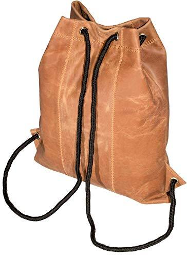 MATADOR Leder Turnbeutel Fitnesstasche Gym Bag Sporttasche Sportbeutel Turntasche Rucksack Vintage Retro Braun