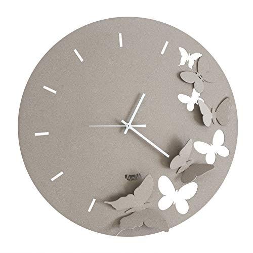 Arti & Mestieri Butterfly Spring - Orologio da Parete di Design 100% Made in Italy - in Ferro, Diametro 40 cm - Beige