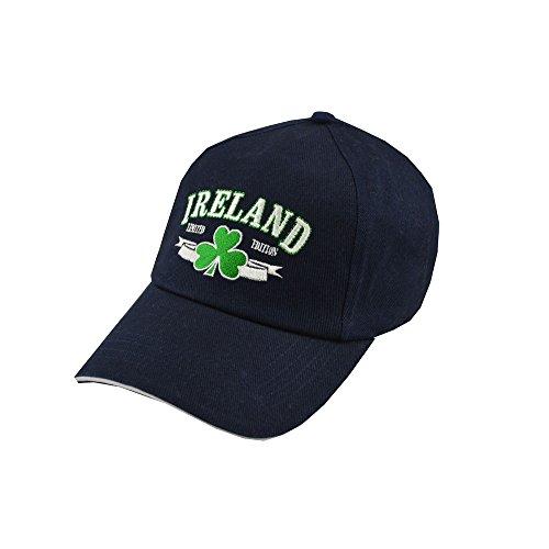 Irischer Baseball Cap mit Irland Text, Kleeblatt Design   Sportlich Rugby Dunkelblau Baseballkappe für Herren