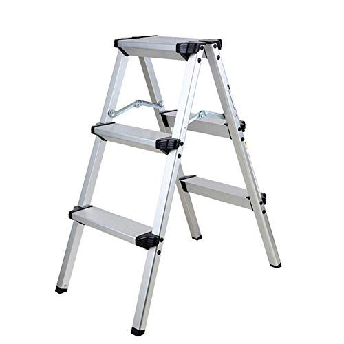 YUNLONG 3 Stappen Aluminium Ladder, Veiligheid Vouwen Stap Kruk Ladders Huishoudelijke Ladder 150Kg Sterke Antislip Rubber Stappen Vouwbeugel 78CM