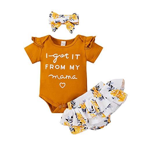 Conjunto de 3 piezas de ropa para bebé y niña, de manga corta, para gatear y pantalones deportivos amarillo 12-18 Meses