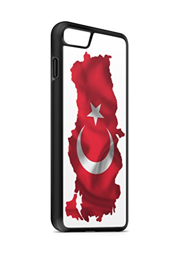 Kompatibel mit iPhone 8 Plus + Silikon Handyhülle Flexibles Slim Case Cover Türkei Türkiye Fahne Flagge Schwarz