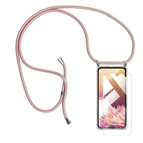 Handykette Handyhülle mit Band für Samsung Galaxy M20 Cover - Handy-Kette Handy Hülle mit Kordel Umhängen -Handy Halsband Lanyard Hülle/Handy Band Halsband Necklace