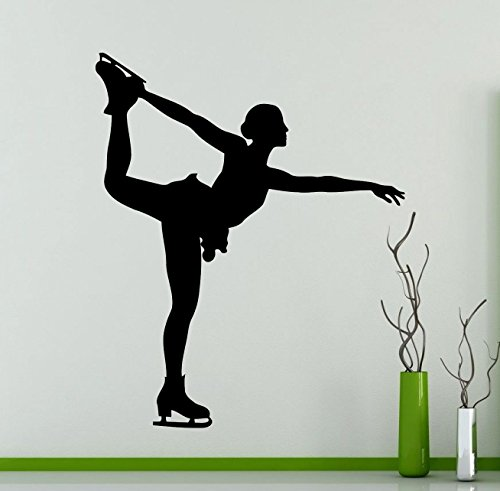 Figure Skating Wall Decal Olympiad Winter Sports Figure Skater Vinyl Sticker Home Living Room Design Interior Art Decoration Any Room Mural Waterproof Vinyl Sticker (113ex)