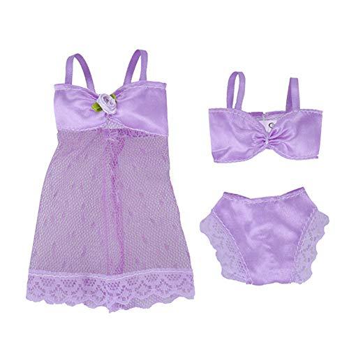Faironly Doll Dessous Nachtwäsche Spitze Nachthemd + Bikini Set Unterwäsche für 29 cm Puppe violett
