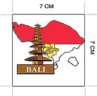 ナショナルフラッグ&マップシリーズステッカー 国旗地図 防水紙シール スーツケース・タブレットPC・スケボー・マイカーのドレスアップ・カスタマイズに (バリ島(インドネシア))
