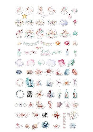 Pegatinas para Albumes de Recortes,2 Hojas 80 PCS Pegatinas de Washi Pegatinas de Brujas Pegatinas de Plantas y Animales Pegatinas Decorativas Autoadhesivas para Manualidades Album Decoración Láctea