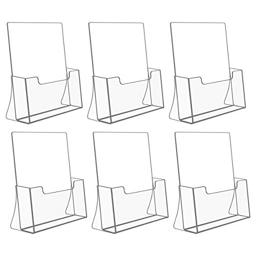 NIUBEE 6 Pack Acrylic Brochure Holder 8.5 x 11 inches, Clear Acrylic Literature Holder Plastic Flyer Display Stand, Acrylic Countertop Organizer for Magazine, Pamphlet, Booklets, Menu, Journals