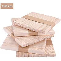 KATELUO 250Pcs Natural Palitos de madera,Popsicle, Gran para manualidades caseras y DIY de postre Making.