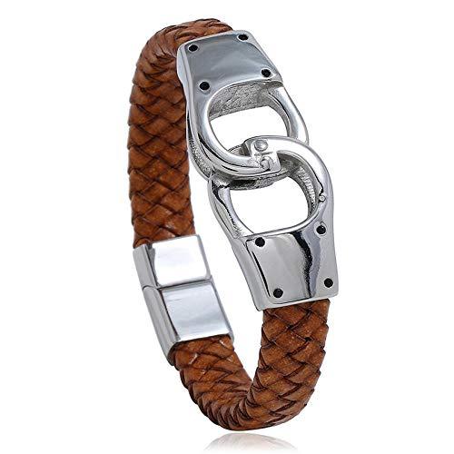 Generic Lederarmbänder Titan,Tolles Geschenk für Männer Damen(Hellbraun 20,5 cm)