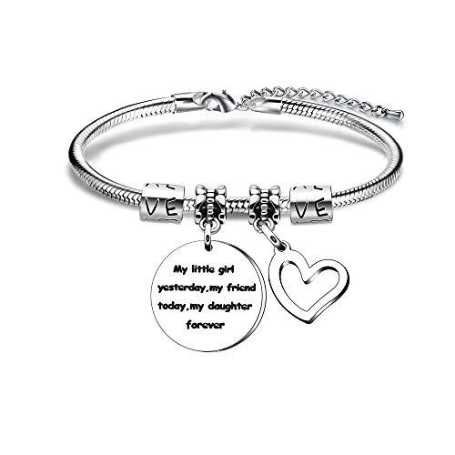 Daughter Gift,Silver Pendant Adjustable Snake Bracelet For Women Lady Girl...