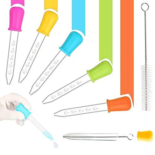 CVOZO Liquid Dropper, 5 unidades de cuentagotas de líquido y 1 cepillo, punta de gota para moldes de caramelos, dispensador de alimentos para bebés, uso en laboratorio, regalos y manualidades (5 ml)