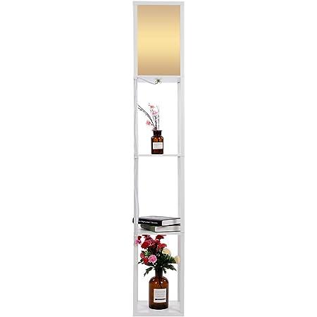 EBTOOLS Lampadaire en Bois avec Etagères Lampe sur Pied Elégant Lampe de Sol avec 3 Etagères de Rangement Stable Décoration pour Chambre Salon Bureau Prise Européenne(Blanc)
