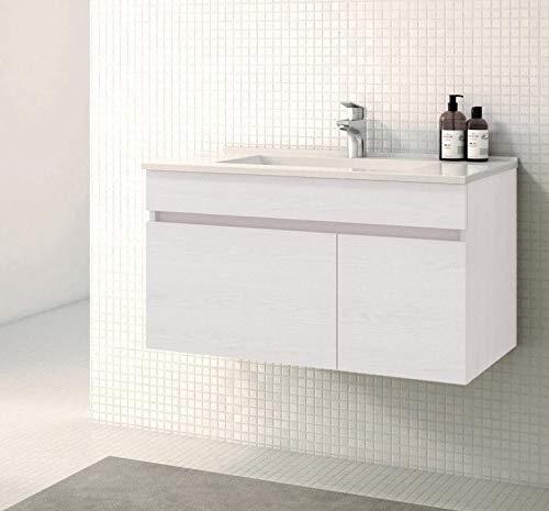 CTESI Mueble de baño Suspendido con Lavabo de Porcelana - 1 cajón...