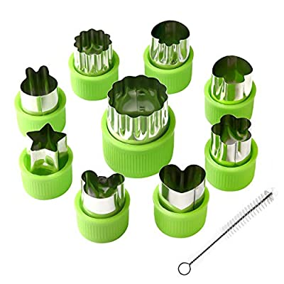 KUUQA Vegetable Cutter Shapes Set Fruit and Cookie Decorating Tools Flower Star Cartoon Animals Fruit Mold with Cleaning Brush