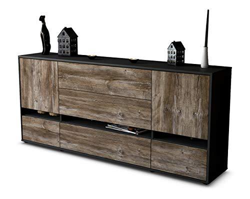 Stil.Zeit Sideboard Floriana/Korpus anthrazit matt/Front Holz-Design Treibholz (180x79x35cm) Push-to-Open Technik & Leichtlaufschienen