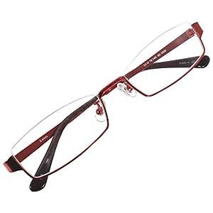 アンダーリム スクエア メガネフレーム メタル メガネ 伊達 眼鏡 UV ブルーライト カット (レッド デモレンズ)
