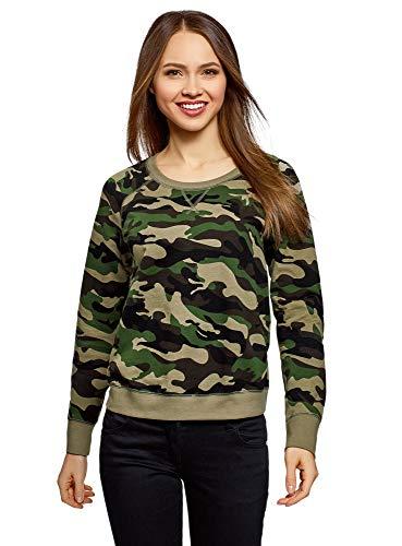 oodji Ultra Damen Bedrucktes Sweatshirt Basic, Grün, DE 42 / EU 44 / XL