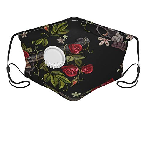 Gun Flower Rose Western Style Men's and Women's Mouth Face Mask Anti Breathable Filter Dust Absorb Sweat Washable Reusable Masks for Cycling Camping Ski Travel Outdoor