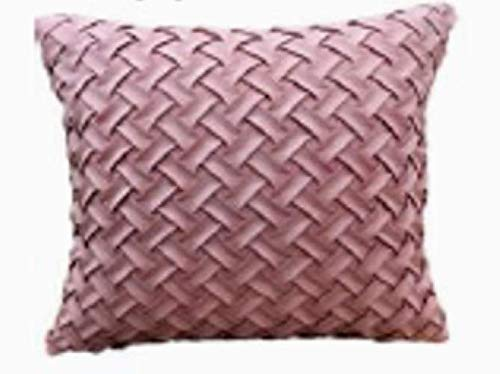 BuyElegant - Juego de 2 fundas de cojín cuadradas (45 x 45 cm, algodón), diseño de punto, ante, Rosa, 45 x 45 cm