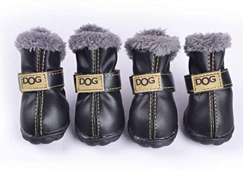 PIHAPPY Soft Warm Winter Little Pet Dog Boots Skidproof Snowman Anti-Slip Sole Paw Protectors Small Puppy Shoes 4PCS (XL, Black)