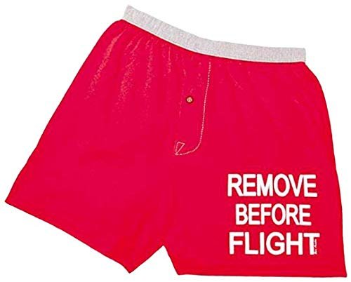 Born Aviation Men's Remove Before Flight Boxer Shorts-Red-Extra Large