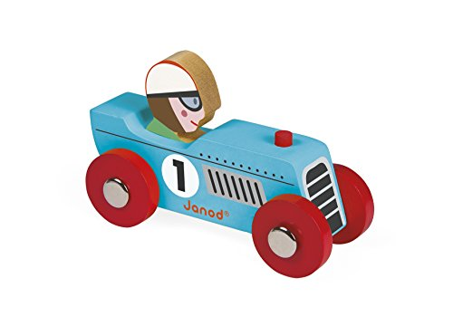 Janod J08549 Story Racing auto aus Holz, Retro-Rennwagen